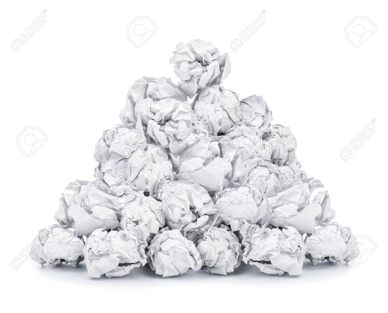 pile of crumpled paper isolated on white background stock photo