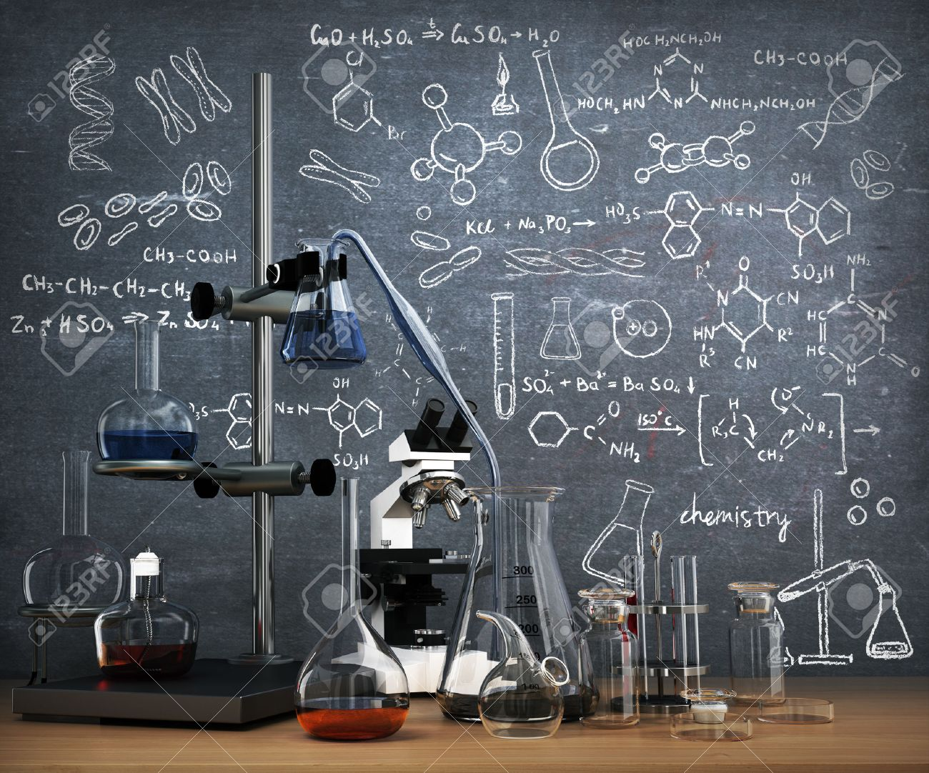 Chemistry Laboratory Concept Chemical Test Tubes And Objects On The Table With Draw