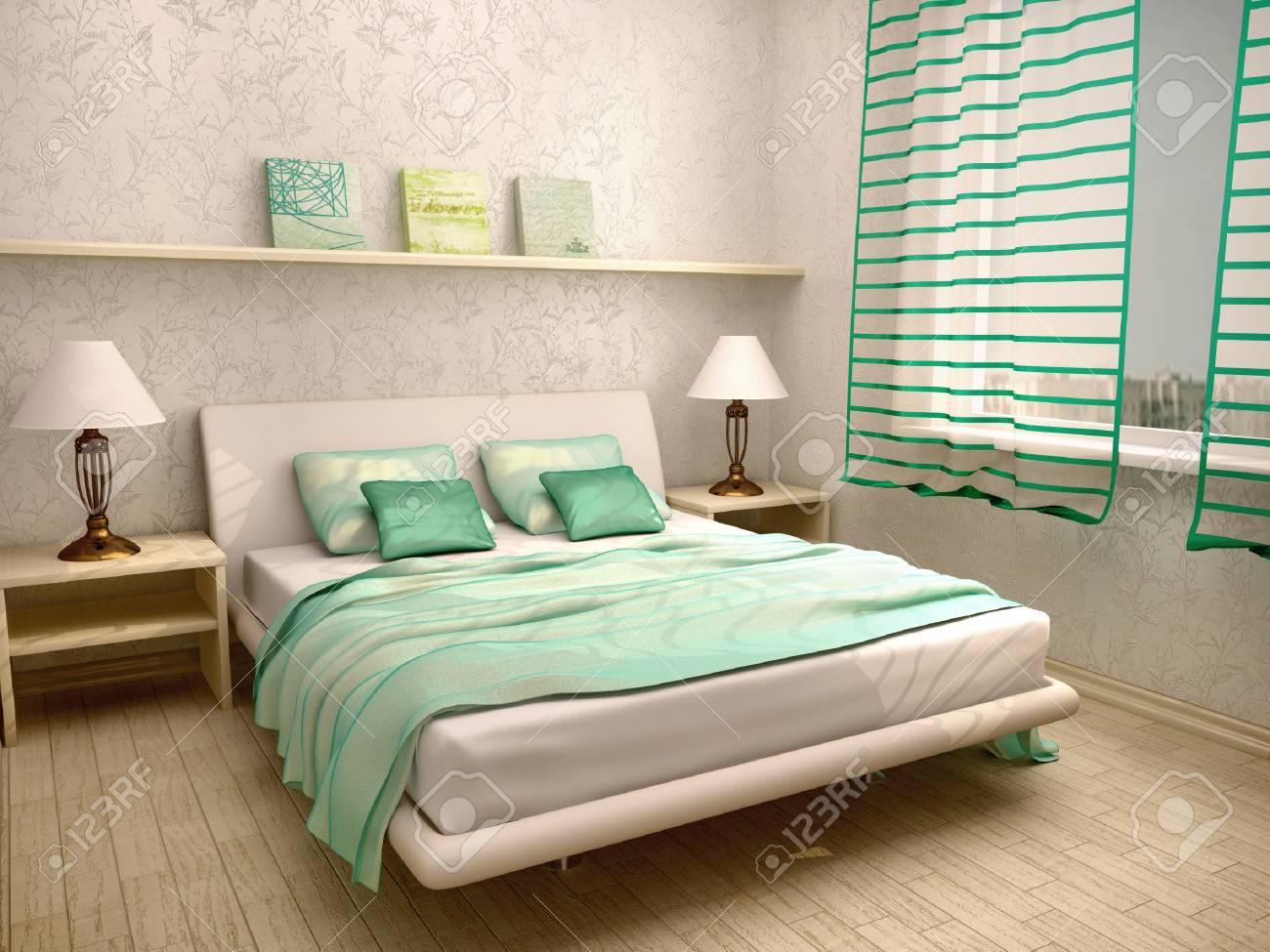 3d Darstellung Der Schlafzimmer Interieur In Einem Hellen Turkis