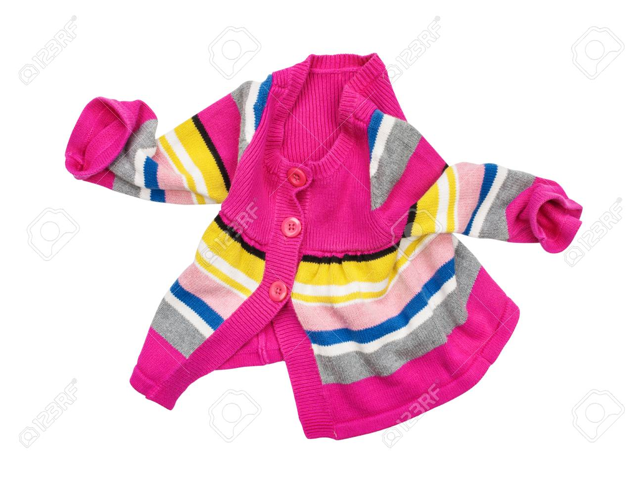 f502e2959ed3 Baby Red Jacket In Motion On A White Background Isolated Stock Photo ...