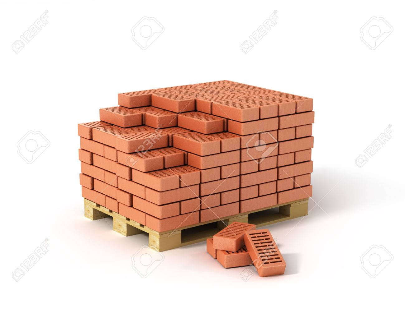 Red Bricks Stacked On Wooden Pallet Isolated On White Background Stock Photo Picture And Royalty Free Image Image 40336957