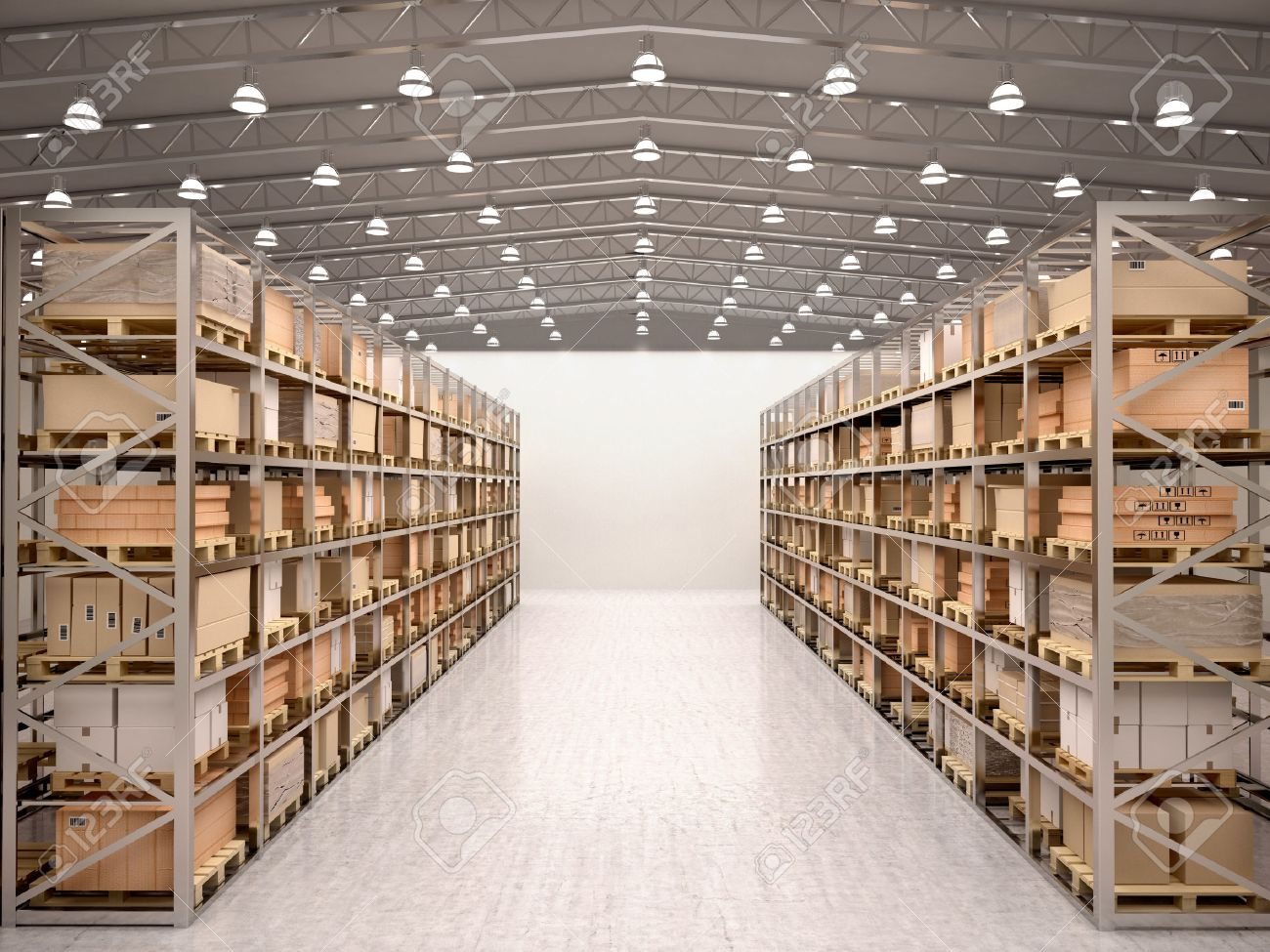 3d illustration of rows of shelves with boxes in modern warehouse