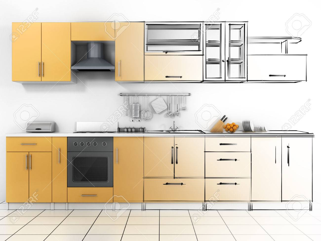 Abstract Sketch Design Of Interior Kitchen Wireframe Render Stock