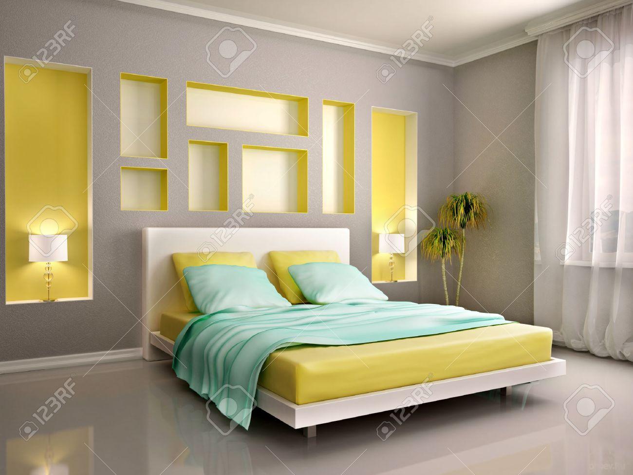 illustrazione 3d di interni moderni camera con letto giallo e