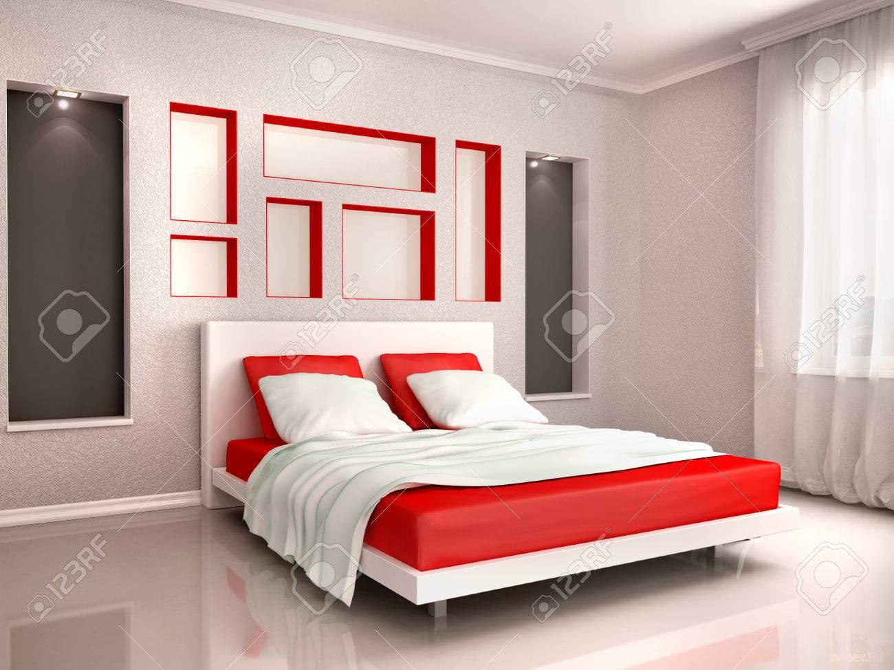 Camera Da Letto Grigia illustrazione 3d di interni della camera da letto moderna in tonalità rosso  e grigio
