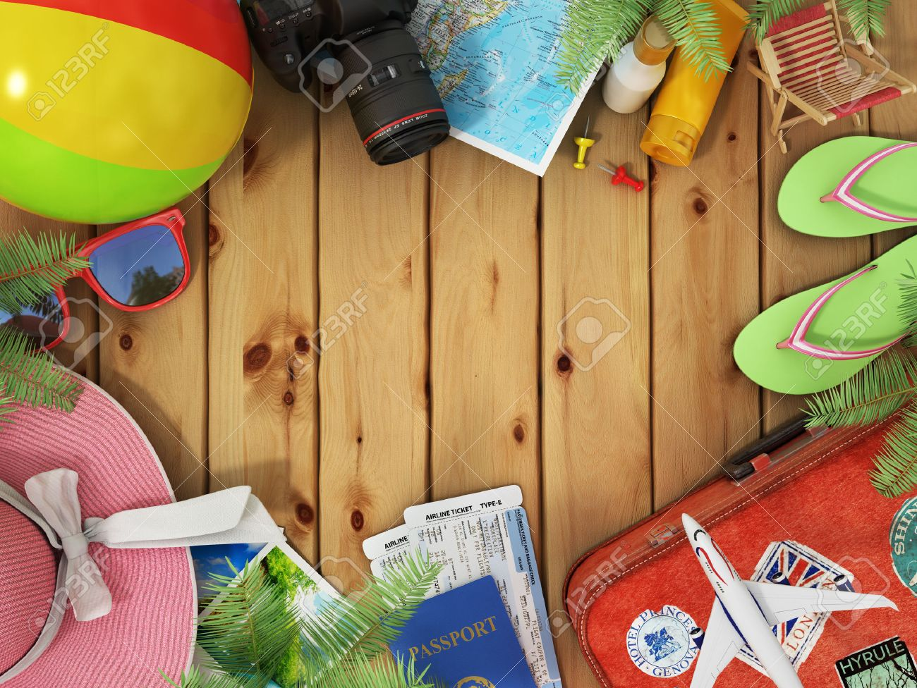 Travel concept sunbed sunglasses world map beach shoes sunscreen sunbed sunglasses world map beach shoes sunscreen passport air ticketscamera palms beach ball gumiabroncs Choice Image
