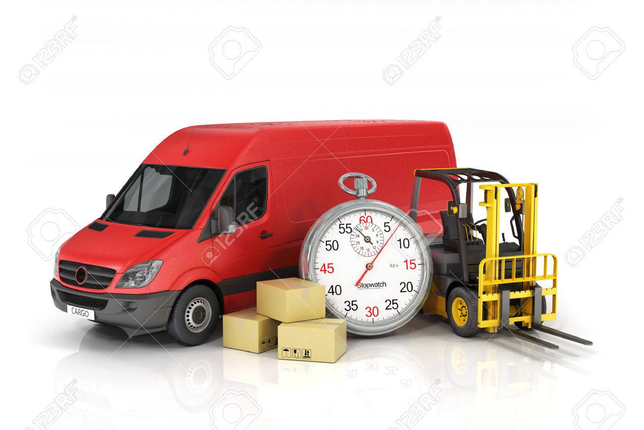 Cargo insurance cardboard package box with stopwatch and delivery vehicle with forklift truck on the
