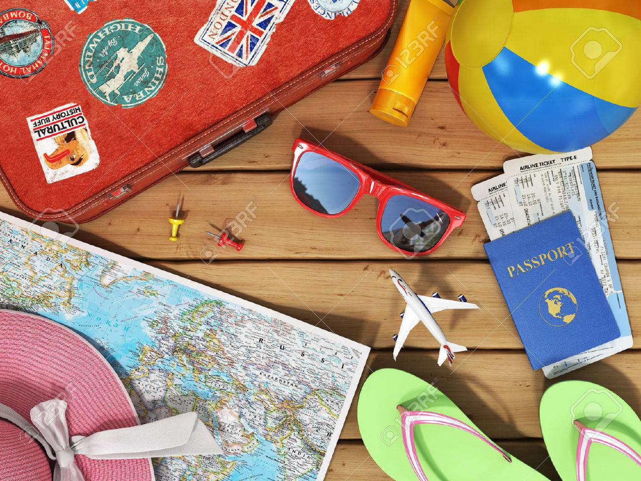 Travel concept snglasses world map beach shoes sunscreen snglasses world map beach shoes sunscreen passport planeickets gumiabroncs Choice Image