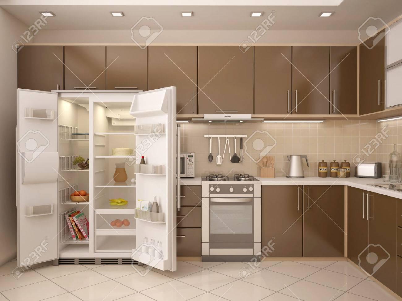 3d Darstellung Der Kuche Interieur Mit Einem Offenen Kuhlschrank