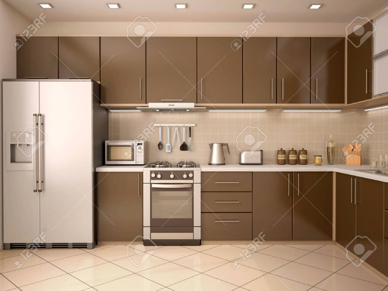 D Illustration Of Modern Style Kitchen Interior Stock Photo - Style de cuisine moderne photos