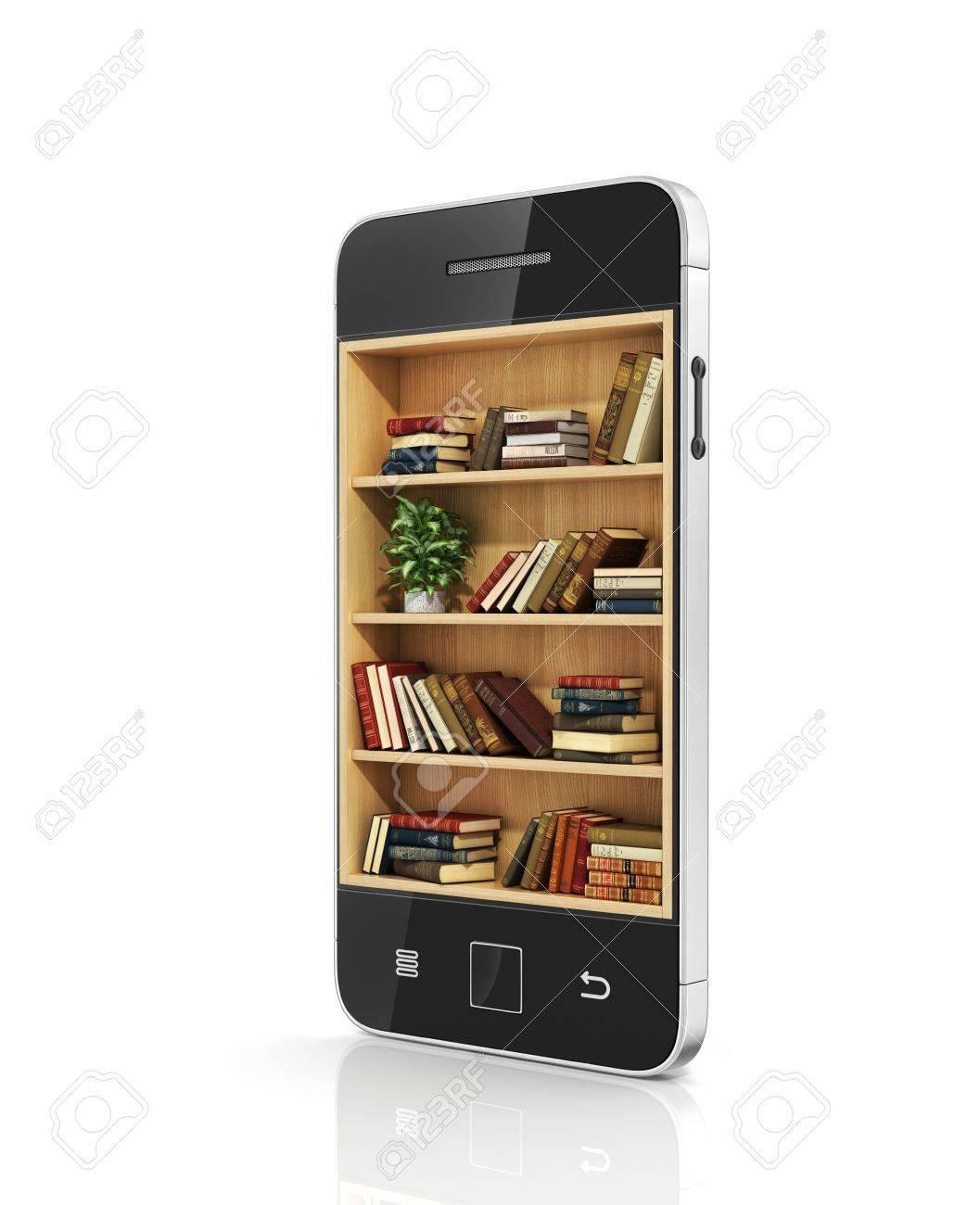 Concept De Livre Electronique Bibliotheque Avec Des Livres Dans L Affichage Du Telephone
