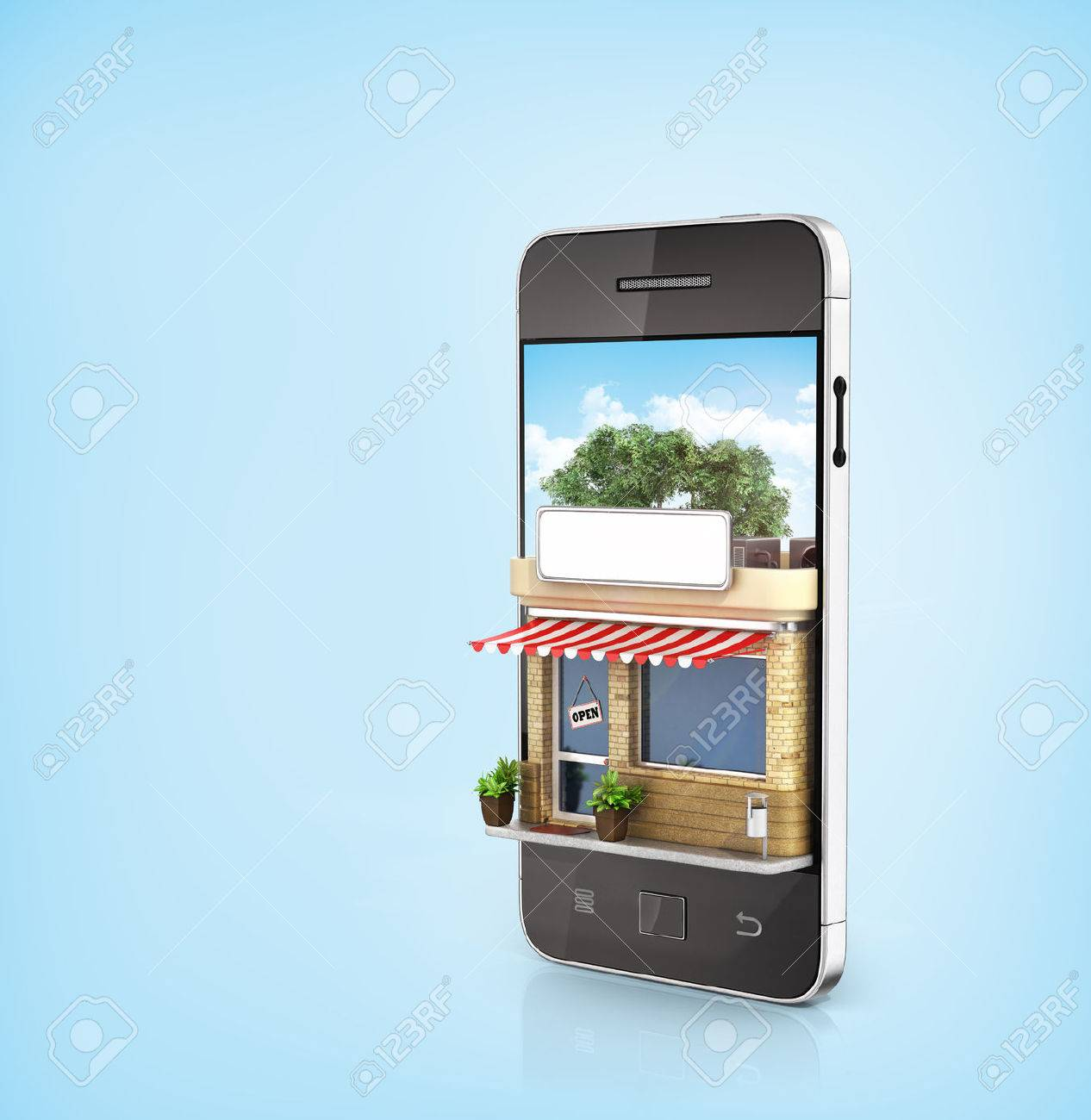 d9d461fd0d5 Concept of phone online store. Online store mobile flat design. Beautiful  shop in the