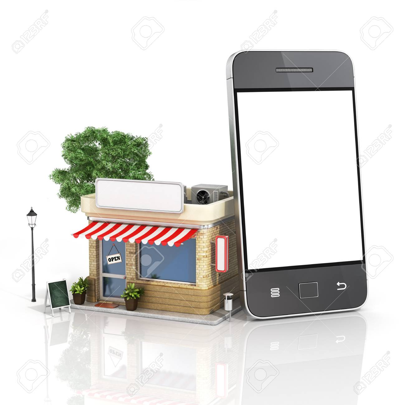 4e9047335a2 Concept of phone online store. Online store mobile flat design. Beautiful  shop with phone