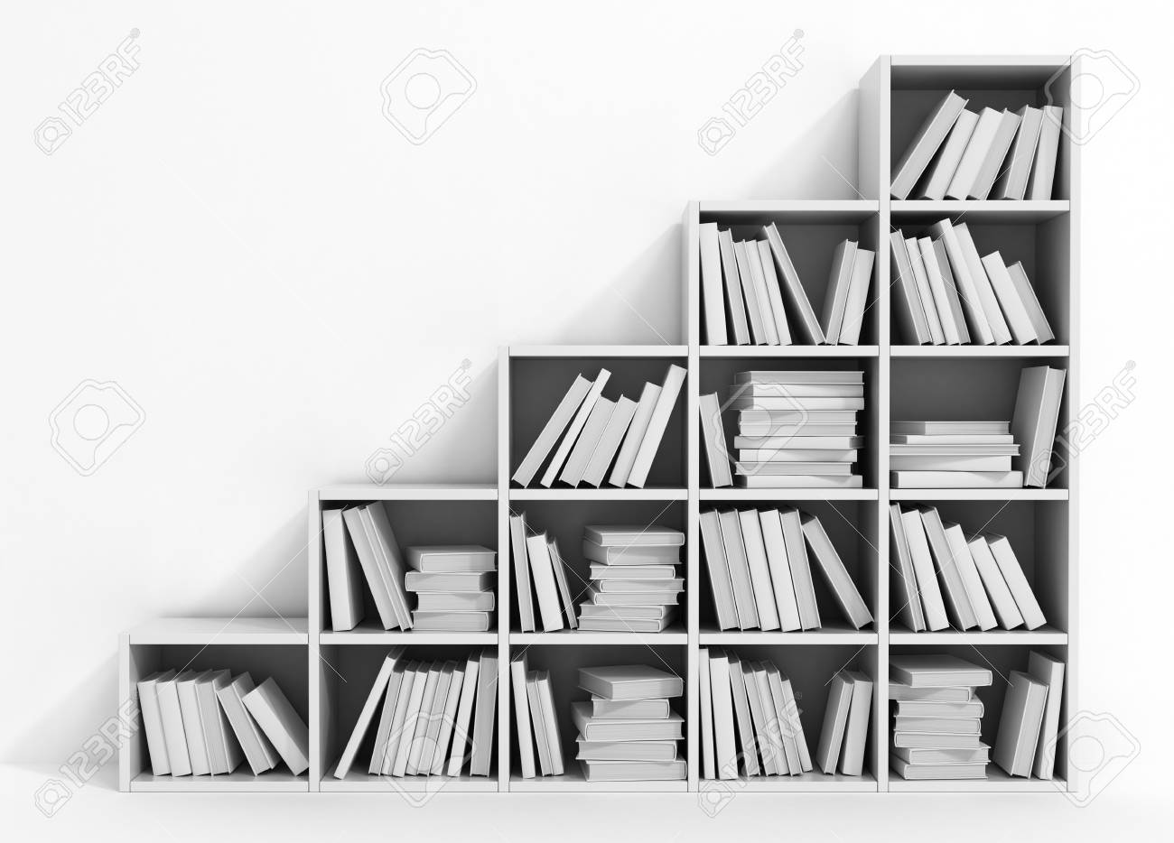 Library Bookshelf Full Of Books White Books On The White Shelf
