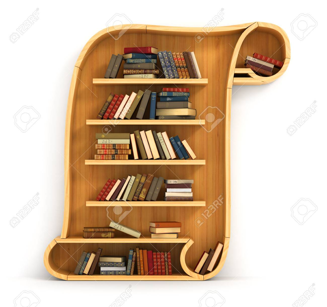 Wooden Bookshelf In Form Of Scroll History A Human Have