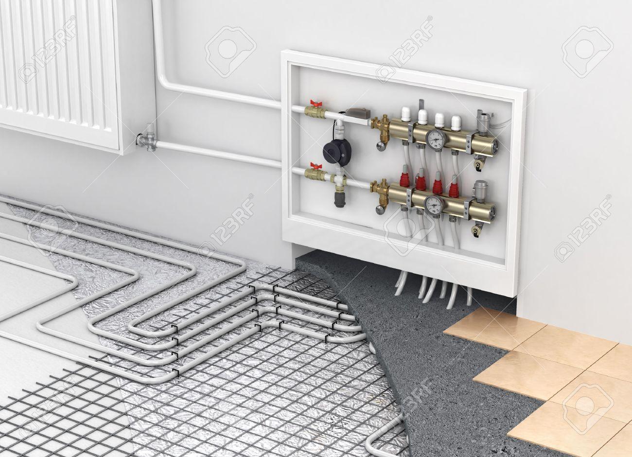 Underfloor Heating With Collector And Radiator In The Room  ~ Calefaccion Por Suelo Radiante Precio
