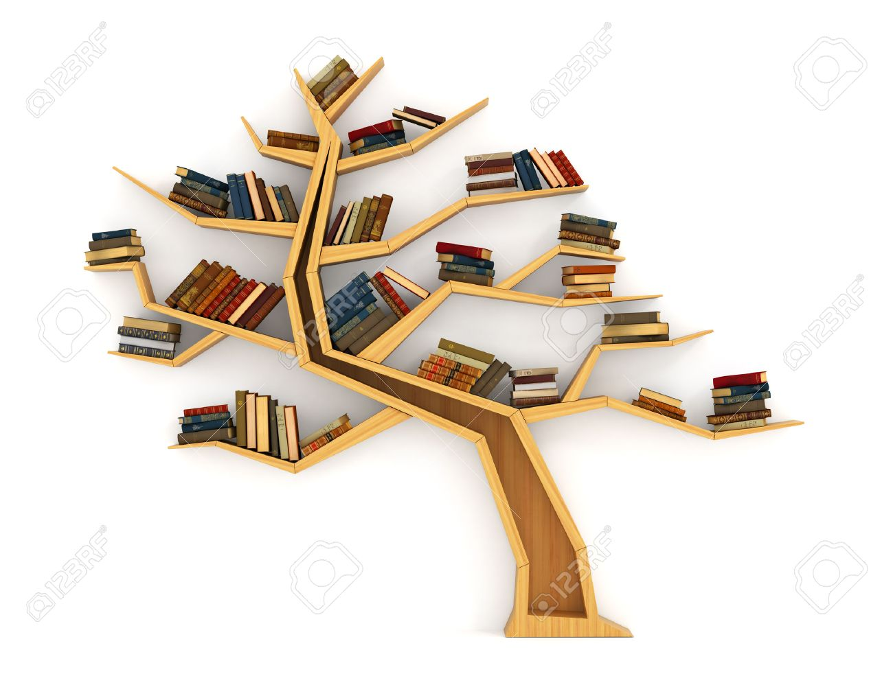 Wooden Bookshelf In Form Of Tree Science About Nature The