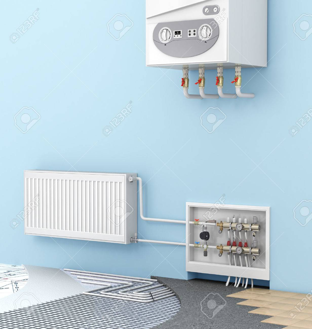 The Concept Of Warm Floor In A Room With A Wall-mounted Boilers ...