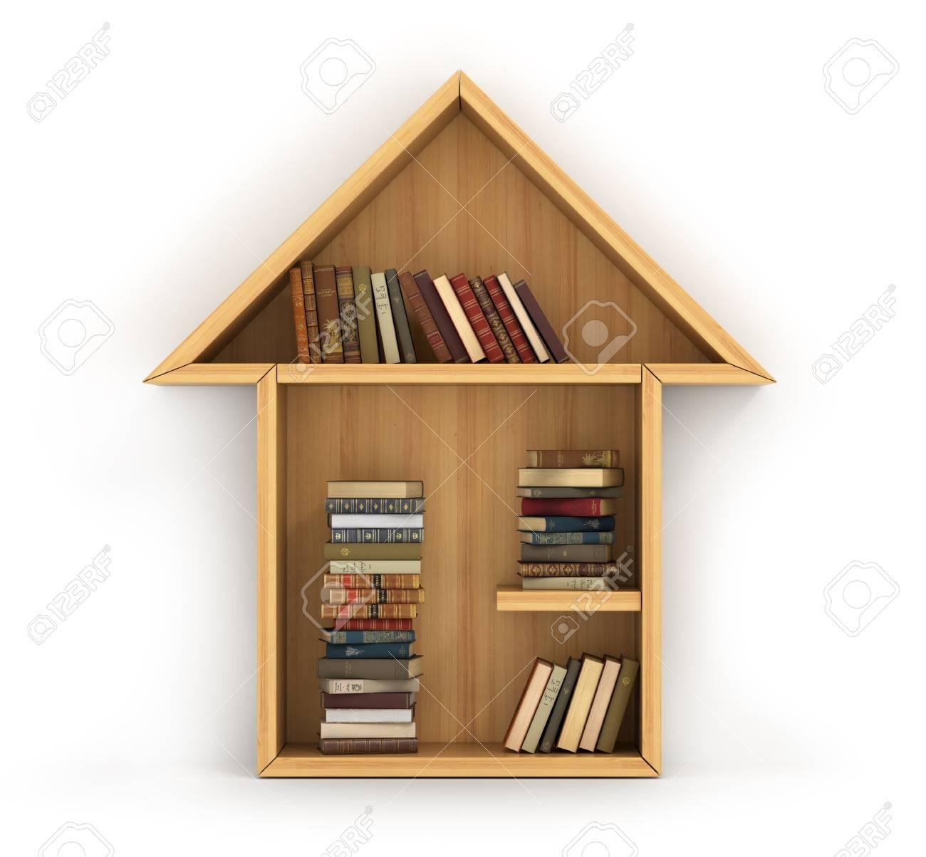 Concept De Formation Etagere En Bois Pleine De Livres En Forme De Maison La Maison De La Connaissance Devoirs Un Humain A Plus De Connaissances