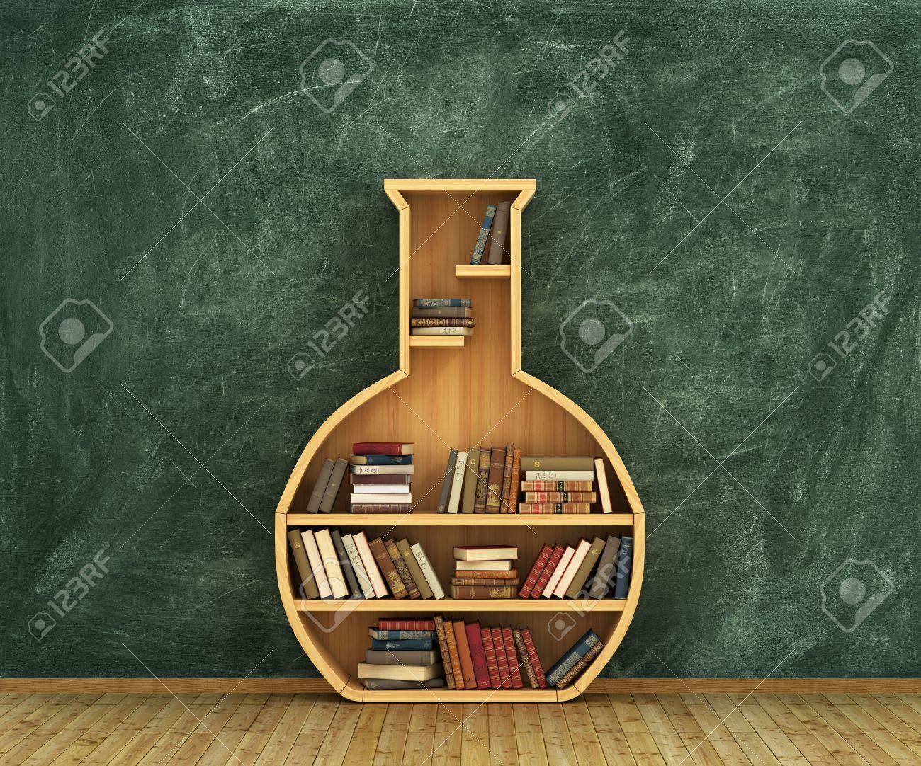 Concept of chemistry  Bookshelf full of books in form of test-tube