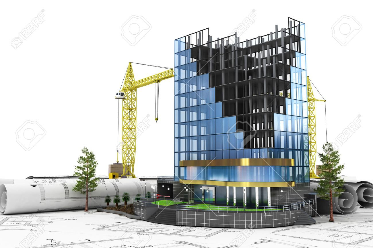 abstract 3d of building development concept office building in process of construction stock photo abstract 3d office building