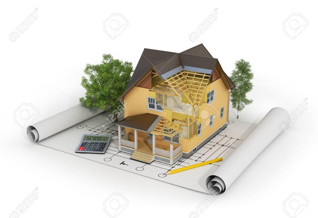3D-Darstellung Von Haus Zu Machen In Den Aufbau-Prozess Mit Bäumen ...