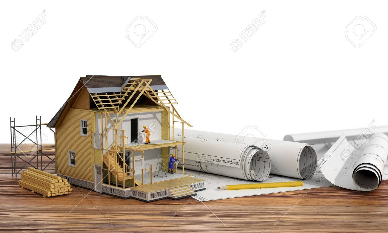 Concept of construction 3d render of house in building process 3d render of house in building process with builders on blueprint and malvernweather Image collections