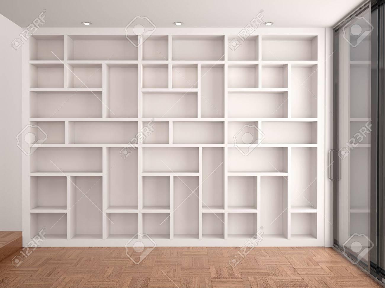 3d illustration of Empty shelves in modern
