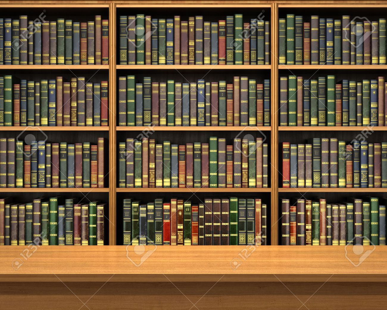 Table On Background Of Bookshelf Full Books Old Library Stock