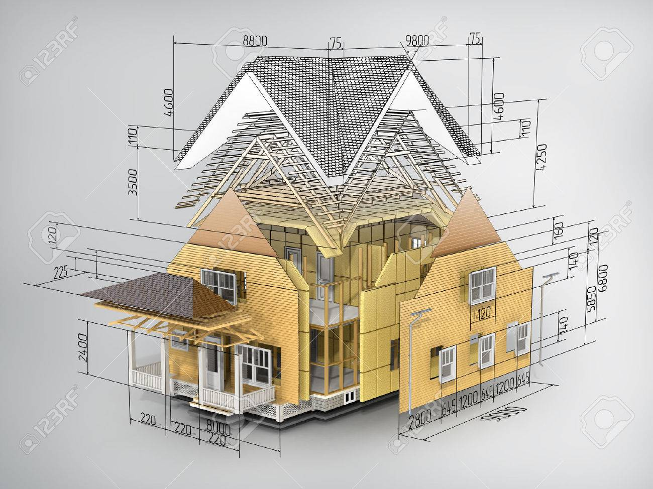 Concept of construction. We see constituents of roof frame and insulation layer with dimensions. - 51708518