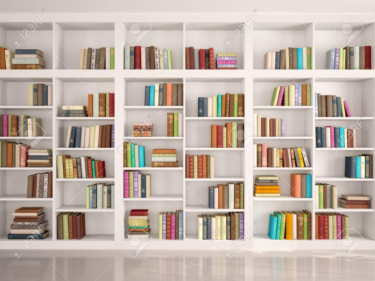 3d illustration of White bookshelves with various