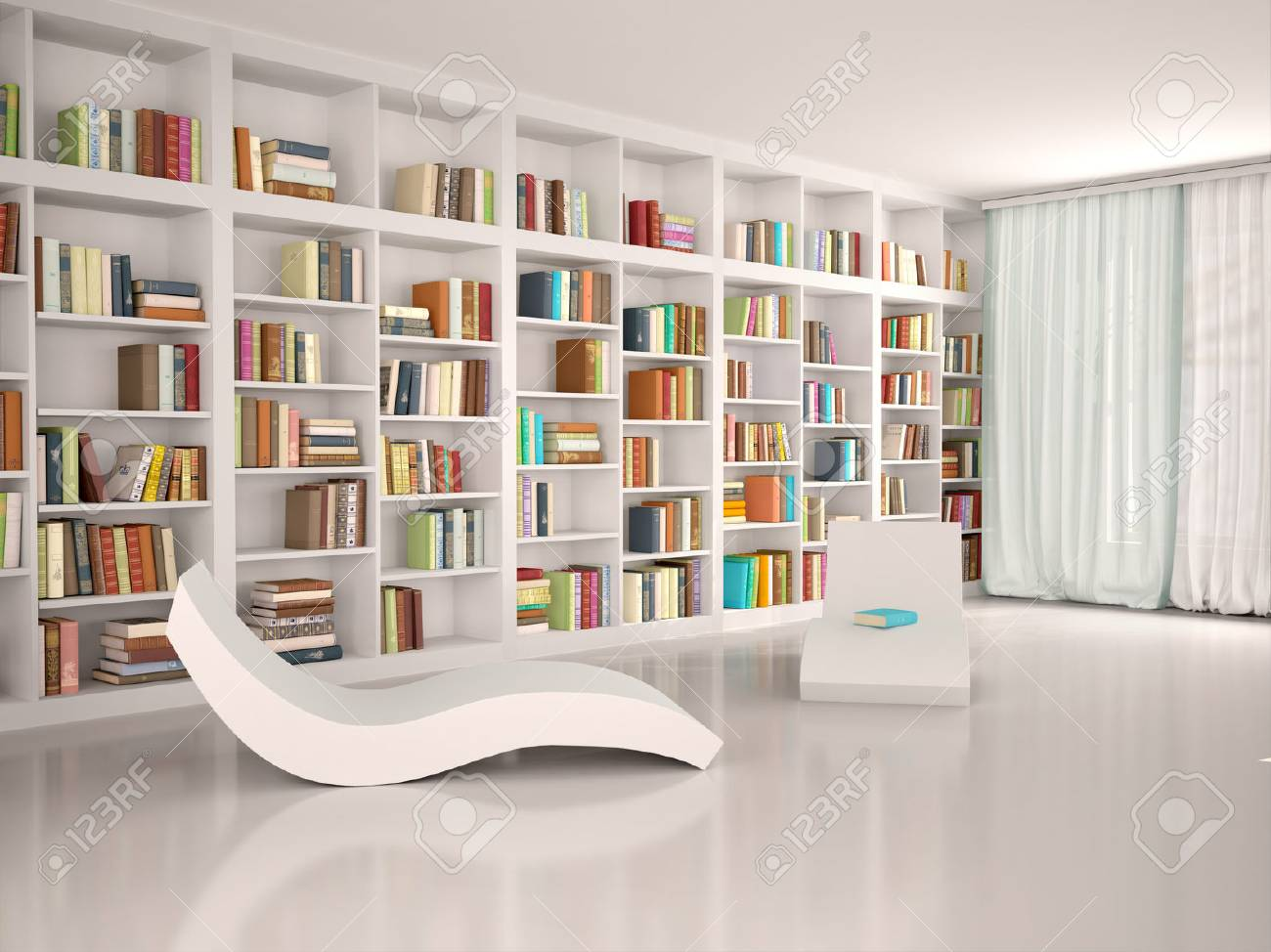 3d illustration of Modern minimalistic library for