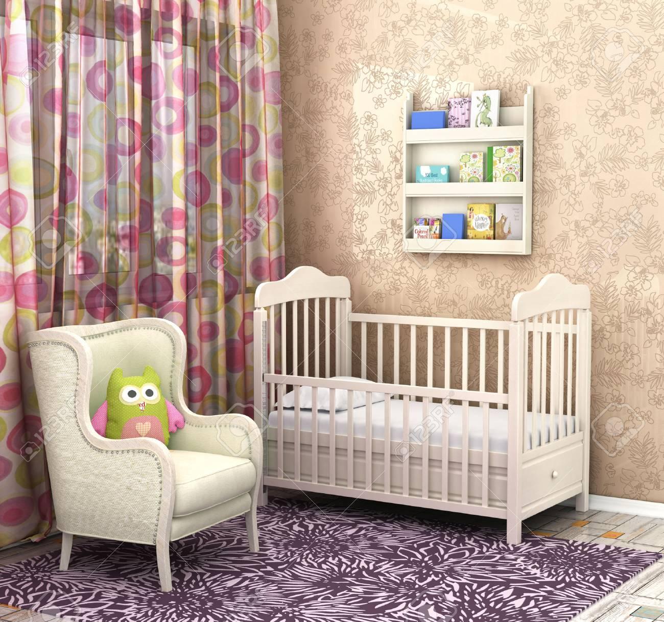 Schlafzimmer Baby. Komfortable Zimmer Für Ein Kind Lizenzfreie Fotos ...
