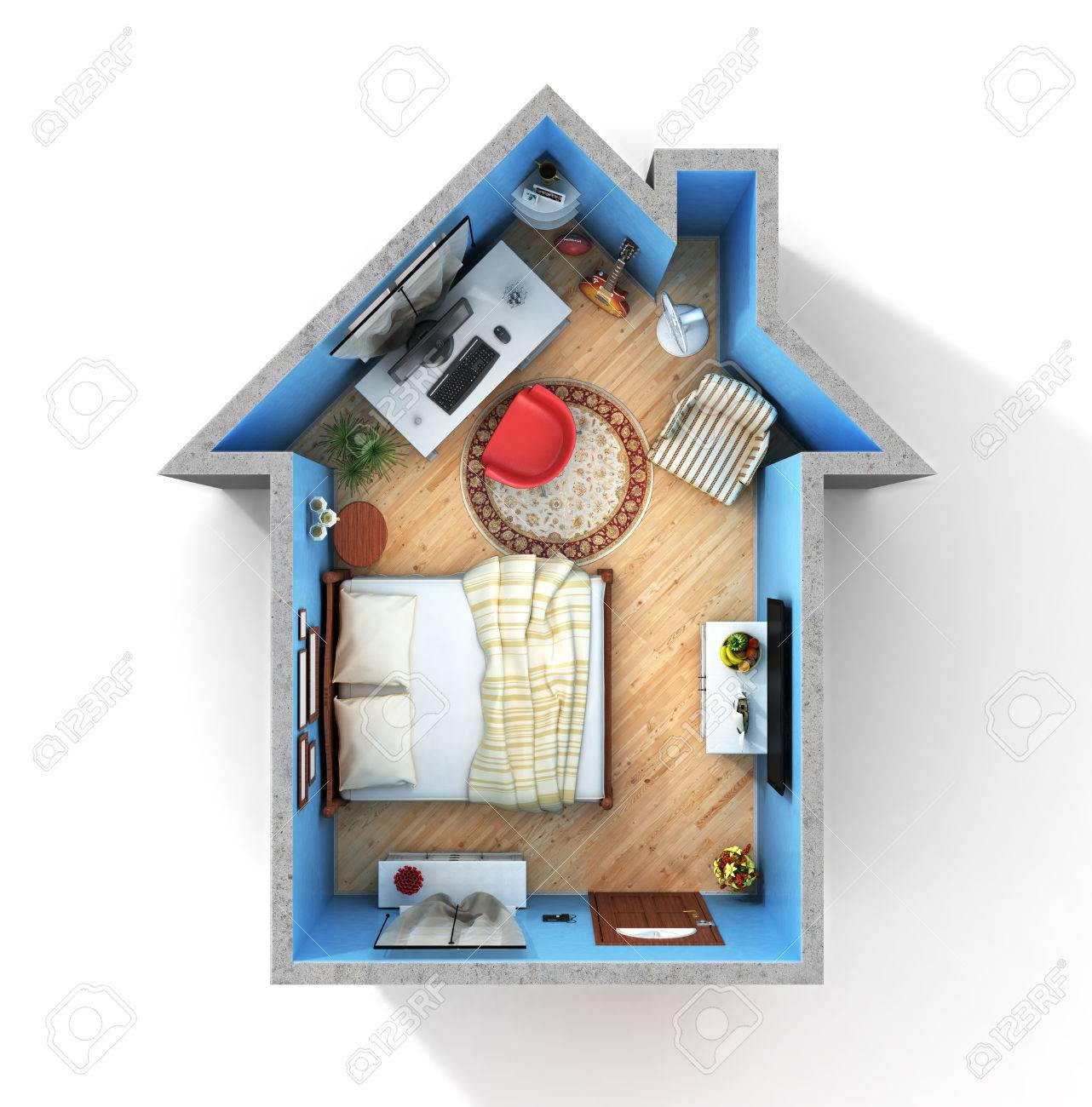 Flat Full Of Things In Form Of House In Top View.