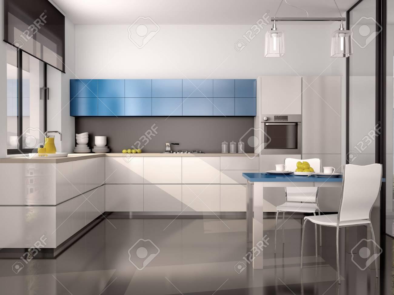 3d Darstellung Des Inneren Der Modernen Kuche In Weiss Blau Grau