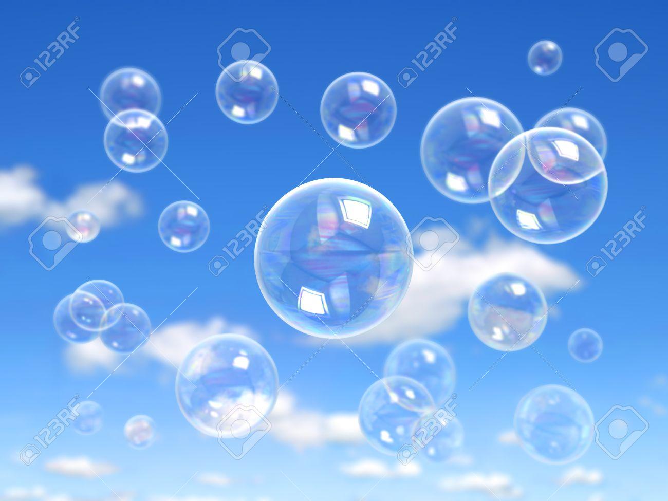 Burbuja De Jabón En El Agua De Jabón Realista Fondo Azul Burbujas