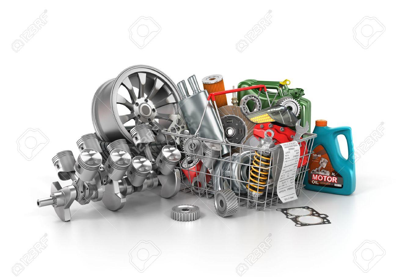 Korb Aus Einem Geschäft Voller Autoteile. Auto-Teile Lagern ...
