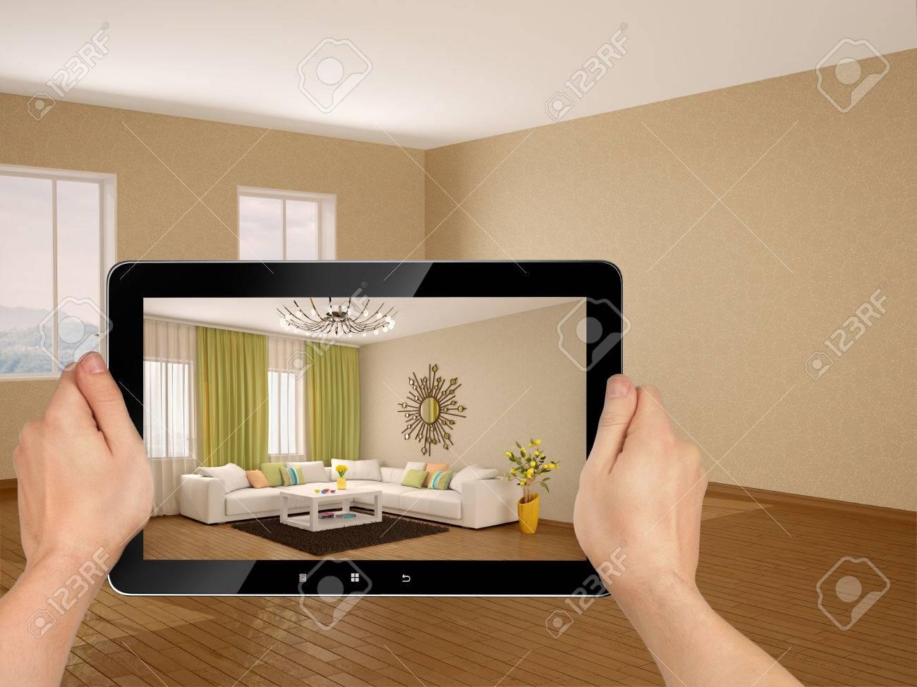 3d illustration inter moderne d\'un salon avec des couleurs chaudes.  Concept. Le passage à une nouvelle maison.