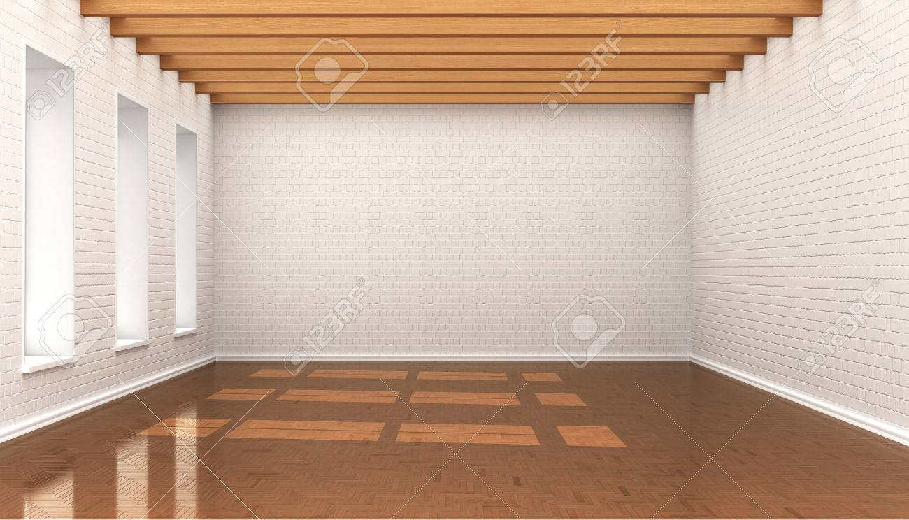 Bekannt Leeren Raum, Weiße Wand Steine, Platten, Decke Mit Holz Baloe. 3D KN21