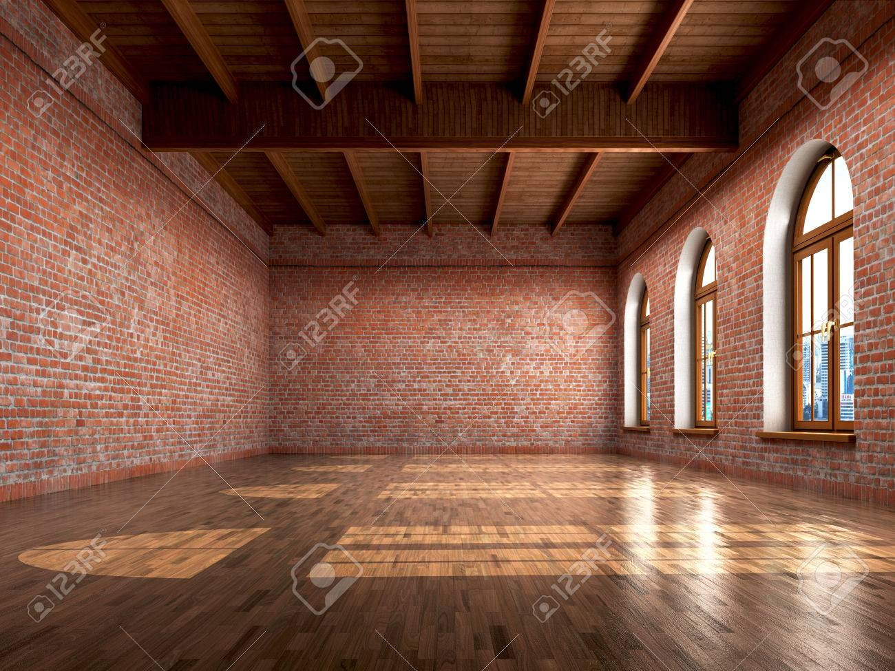 Empty Room With Rustic Finishes Of A Residential Interior Or Office Space 3d Illustration Stock