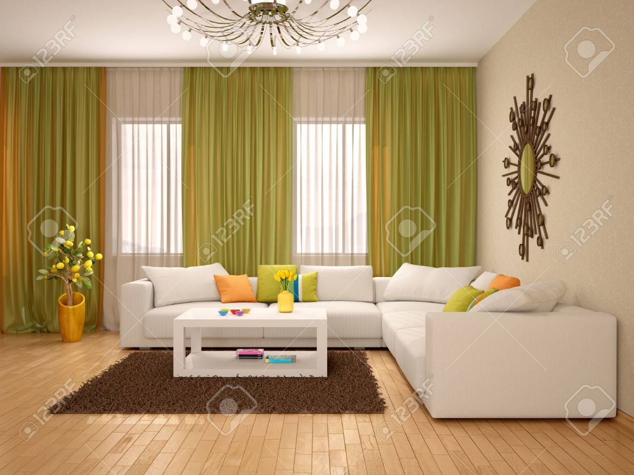 3d Illustration Of Interior Of Modern Living Room Warm Colors Stock Photo Picture And Royalty Free Image Image 56781936