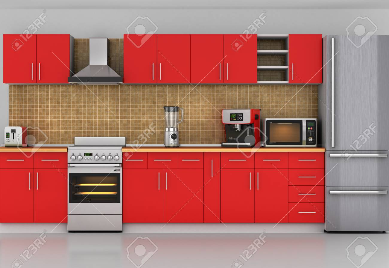 Rote Küche | Fassade Der Kuche Frontansicht Auf Rote Kuche Mit Geraten 3d