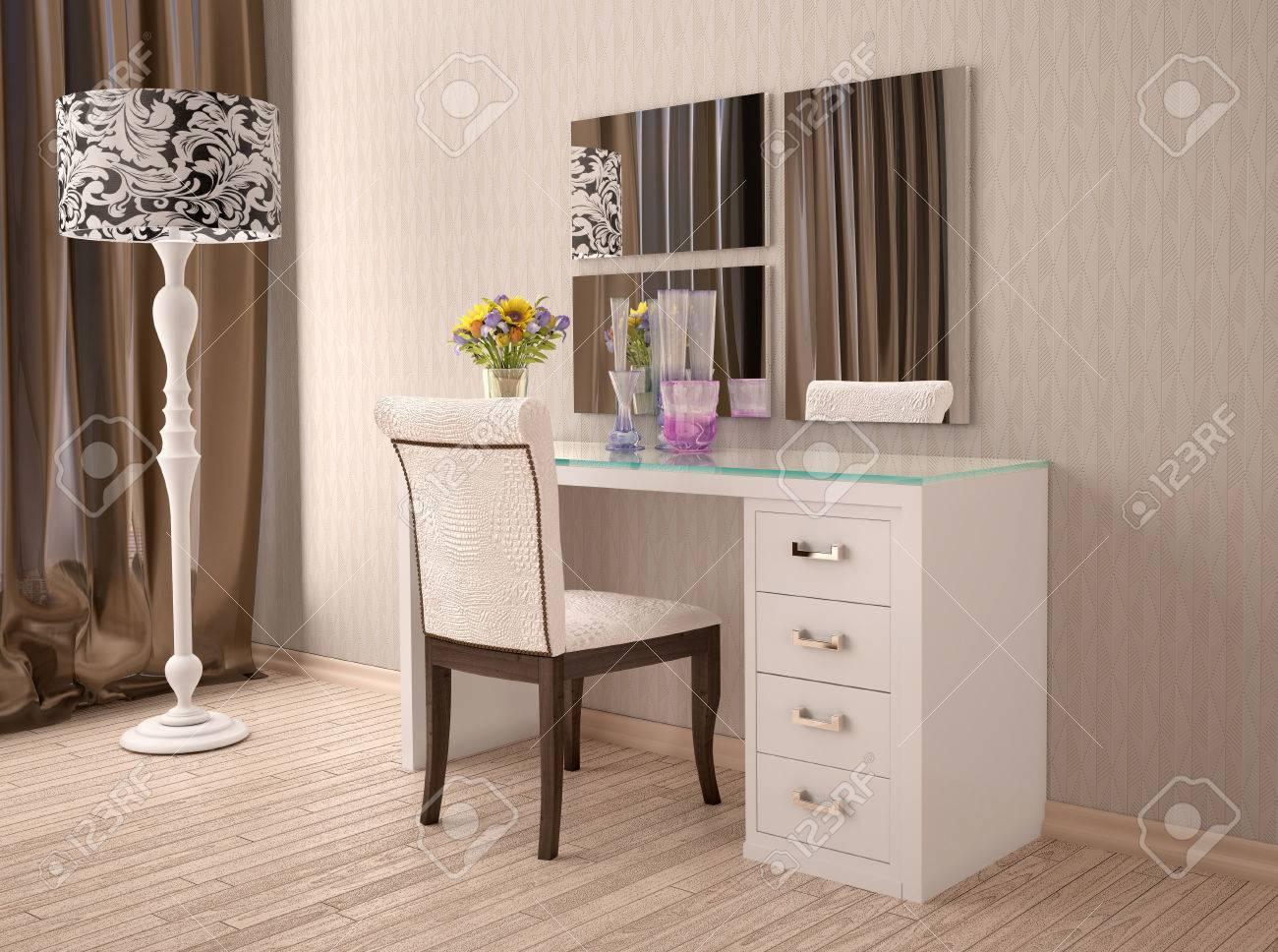 3d Ilustracion De Tocador Blanco Con Un Espejo En Estilo Moderno