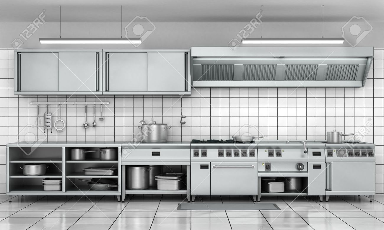 Superieur Professional Kitchen Facade. View Surface In Stainless Steel. Stock Photo    58214688