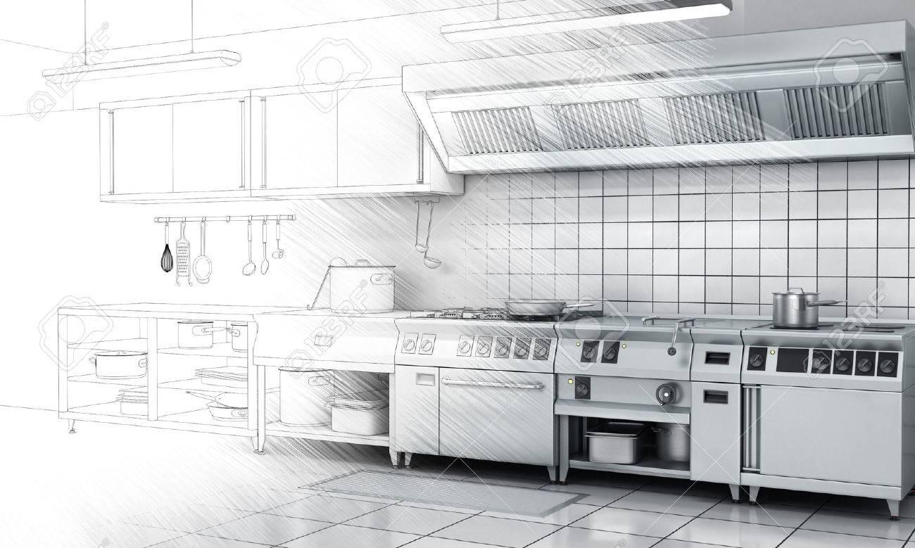 Cucina professionale e attrezzature sulla superficie dipinta a