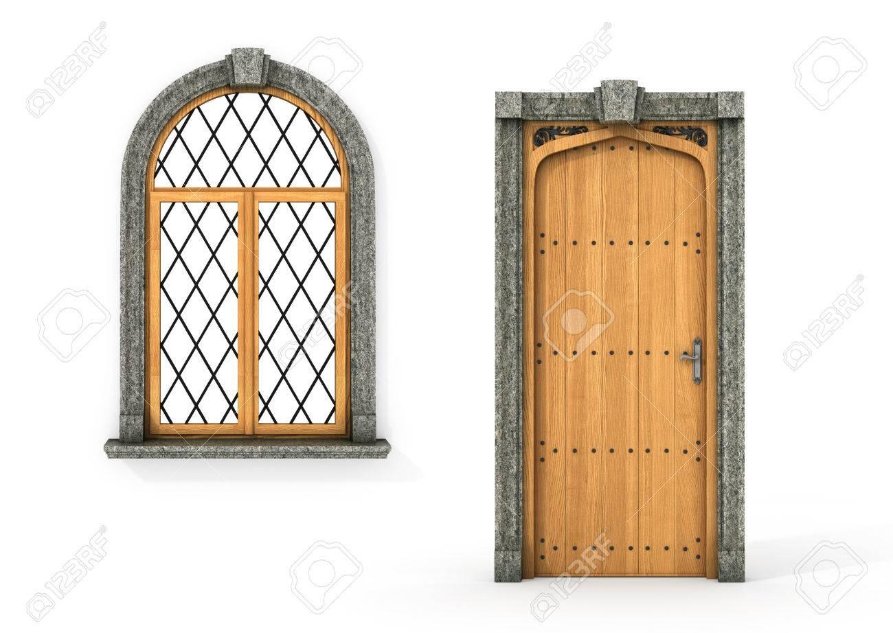 Ancient Wooden Door And Window. Set Of Castle Door And Window ...