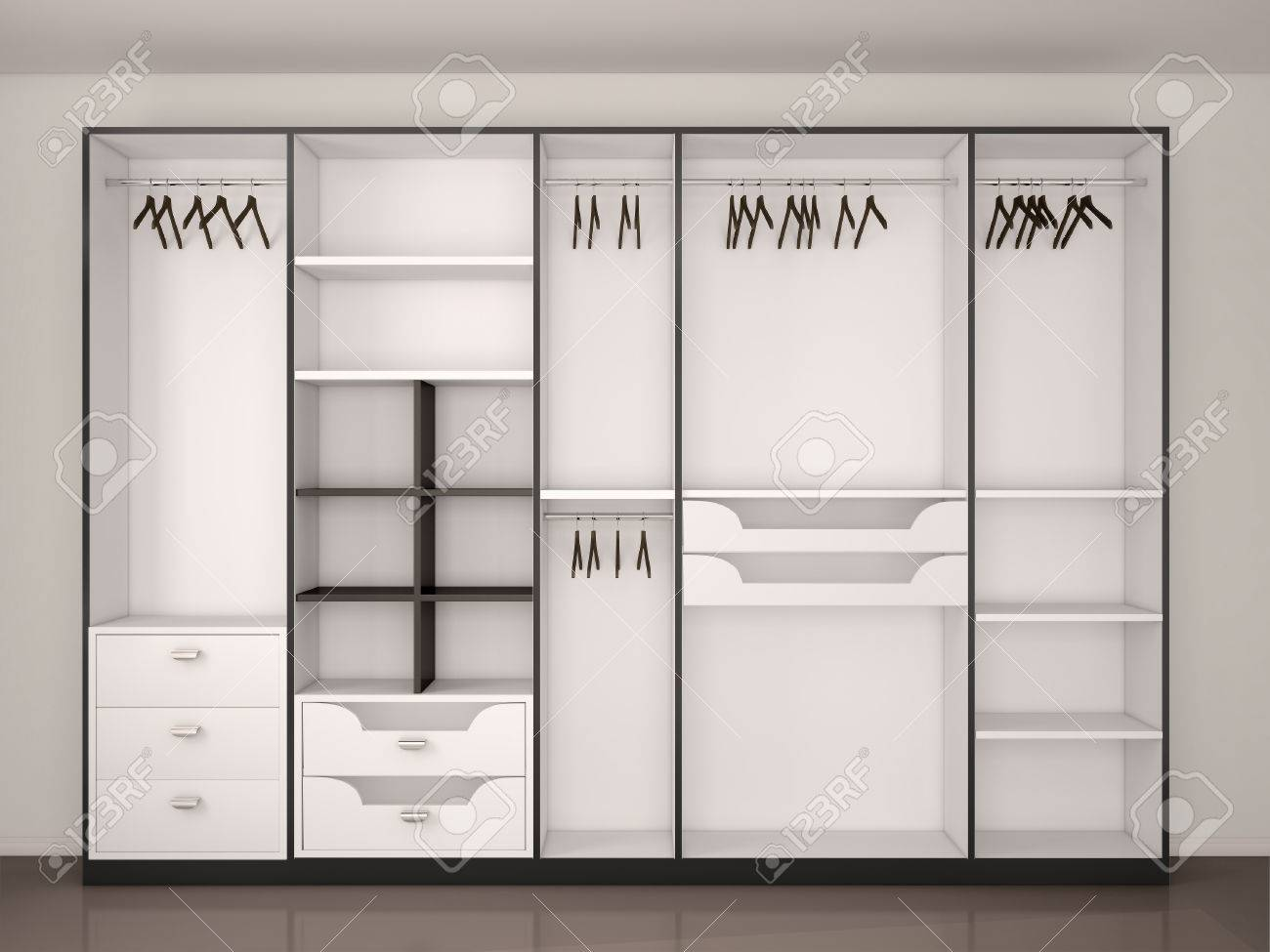 Modern Black And White Empty Walk in Closet Stock Photo Picture And