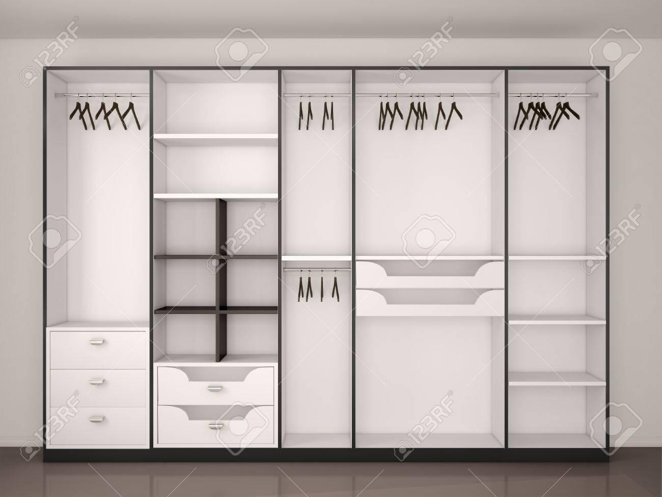 Moderne Schwarze Und Weiße Leere Begehbaren Kleiderschrank ...