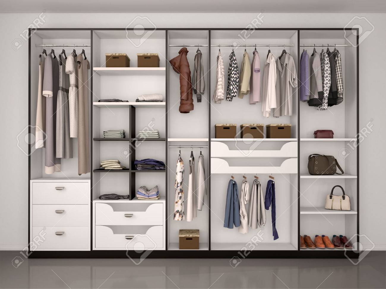Gentil Black And White Wardrobe Closet Full Of Different Things. 3d Illustration.  Stock Illustration