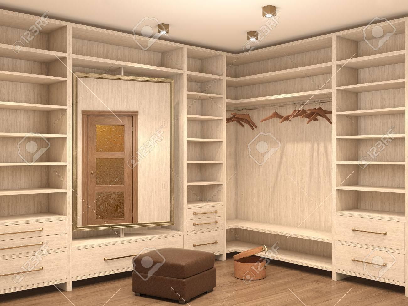 Leere weiße garderobe; inter eines modernen hauses. 3d darstellung